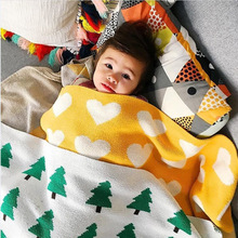 Fashion Simple Baby Cotton Knitted Blanket Newborns Black White Colour Matching Various Cartoon Patterns Super Soft baby