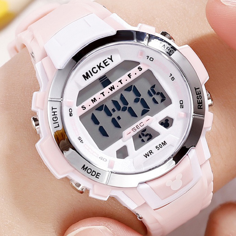 Disney Wristwatch Bracelet Bangle Digital Waterproof Electronic Ladies Girl Mickey Decorative
