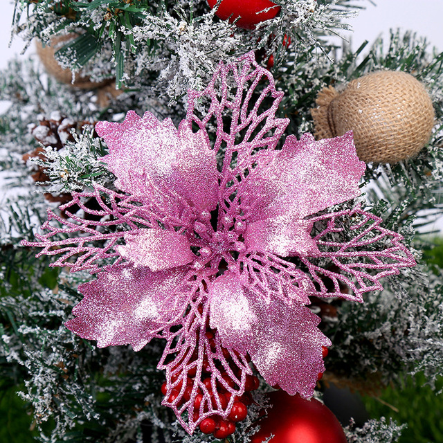 5PCS Artificial Christmas Flowers Glitter Fake Flower Merry Christmas Tree Decorations For Home 2020 Gift Xmas Ornament 2