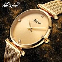 Pulsera de acero inoxidable con diamantes de oro para mujer, pulsera de diseño minimalista, relojes de lujo para mujer, producto más vendido en 2018
