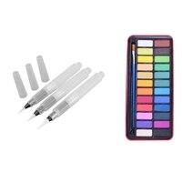 24 цвета, твердые акварельные пигменты, набор для планшета с кистью для краски и металлической коробкой и мягкой кистью, ручка для хранения в...
