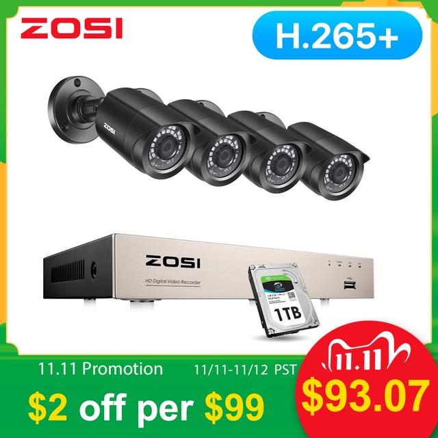 ZOSI CCTV מערכת H.265 + 8CH 5MP לייט DVR עם 4 1080p חיצוני מצלמת אבטחת DVR ערכת יום/לילה בית מעקב וידאו מערכת