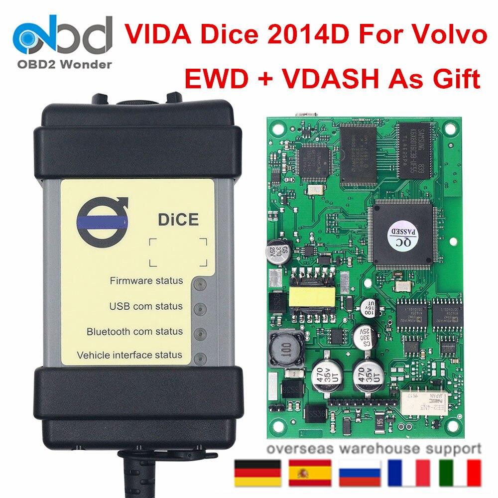Chip completo para volvo vida dice pro ferramenta de diagnóstico do carro software 2014d obd2 scanner para volvo ewd vdash firmware atualização auto teste