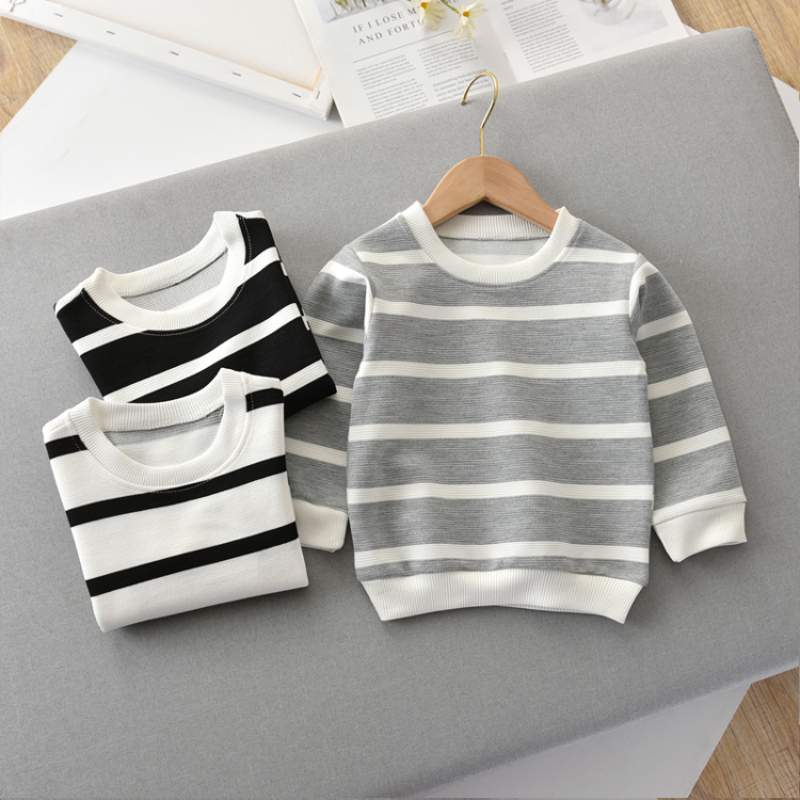Toddler Sweatshirt Hoodies Long-Sleeve Baby-Girls Striped Kids 3-Colors Fashion Casual title=
