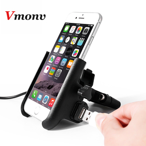 Image 2 - Vmonv Upgrade Universal Metal Chargable Motorcycle Rearview Mirror Cell Phone Holder Stand Support Handle Bike Moto Mount Holder