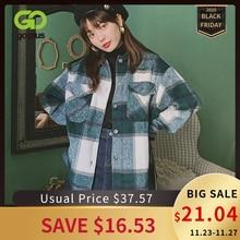Inverno vintage blusa feminina camisa xadrez grandes bolsos camisa outwear roupas para mulher ropa mujer womens tops e blusas