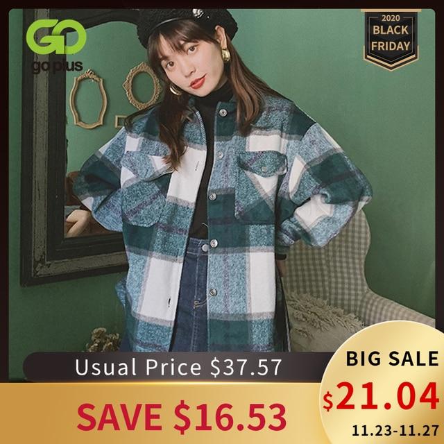 ฤดูหนาวของผู้หญิงเสื้อลายสก๊อตขนาดใหญ่กระเป๋าเสื้อOutwearเสื้อผ้าสำหรับสตรีRopa Mujerผู้หญิงเสื้อและเสื้อ
