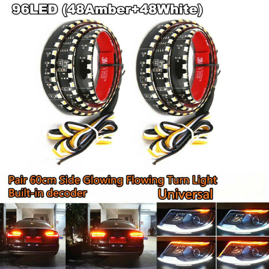LED DRL Headlight Eyebrow Daytime Running Light Fog Lamp With Flowing Dynamic Yellow Turn Signal 60CM 12V IP65