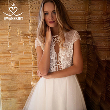 Fairy Appliques Lace Wedding Dress Swanskirt HZ45 Shiny Beaded Illusion A Line Button Bridal Gown Customized Vestido de novia
