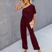 Women's Solid Jumpsuits Skew-Collar One Shoulder Short Sleeve Top Wide Leg Pants Loose Casual Office Ladies Summer Autumn 2021