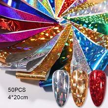 50 Uds uñas holográfica papel de transferencia de cursor dorado pegatina brillante para envolver adhesivo manicura conjunto de decoración de manualidades de papel