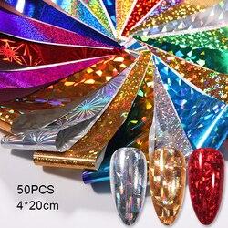 50 Pcs Nail Holographics Transfer Foil Gold Slider Shimmer Sticker For Wrap Adhesive Manicures DIY Decoration Set Nail Paper
