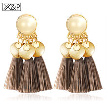 X&P Statement Tassel Earrings For Women Ethnic Big Drop Earrings Bohemia Fashion Jewelry Trendy Cotton Rope Fringe Long Dangle(China)