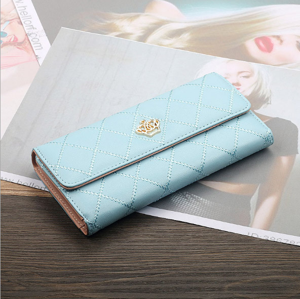Женский кошелек, сумка для мобильного телефона, фирменный дизайн, Женский кошелек из искусственной кожи, длинные женские кошельки и кошельки, женский тонкий держатель для карт, кошелек - Цвет: 2light blue