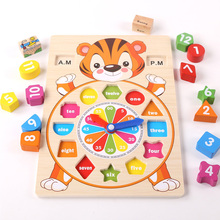 Montessori Wooden Clock Toy Counting Math Learning Number Teaching Time Shape Sorting Clock Game Toy for Kids Preschool Toddlers
