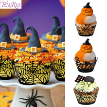 Spider Web Cupcake Wrappers Wraps Toppers Pumpkin Halloween Party Accessories Decoration Hallowen 2019 Props
