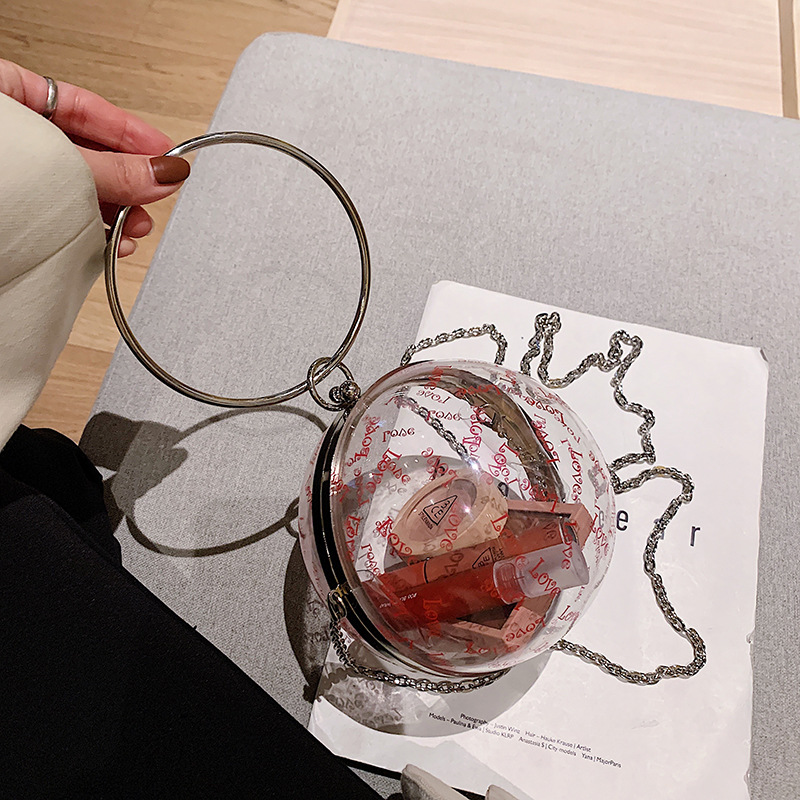 Evening Bags Acrylic Fashion Women Metal Handle Transparent Ball Shoulder Bag Cute Bear Letter Printing Small Clutch Bag