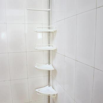 4-Tier Height 63in-118in Adjustable Telescopic Shower Shelf Bathroom Corner Rack Shampoo Soap Toothbrush Storage Organizer Shelf wire corner shelf in chrome height 13
