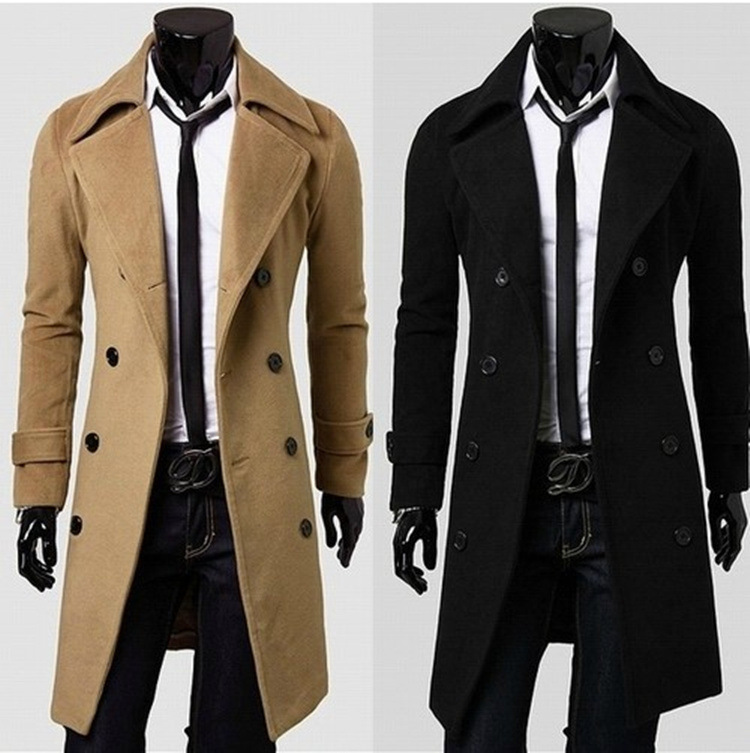 2020 Large Size Men'S Wear Slim Fit Single Side Woolen Cloth Coat Long Double Breasted Overcoat Trench C