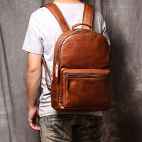 Original Genuine Leather Travel Backpack Stylish School Backpack Full Grain Cow Leather Laptop Backpack