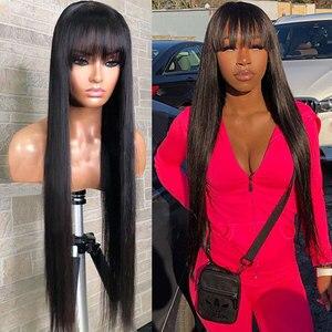 Image 5 - Pelucas de cabello humano liso con flequillo hechas a máquina pelucas de diadema gratis Color Natural para mujeres negras cabello Remy Janin