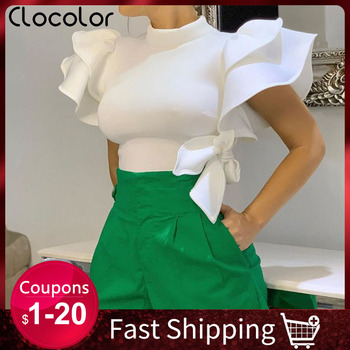 Clocolor Summer Cropped Blouse Shirt Elegant Office Shirts Ladies Plus Size White Blouses Woman 2019 Ruffle Sleeve Women Tops