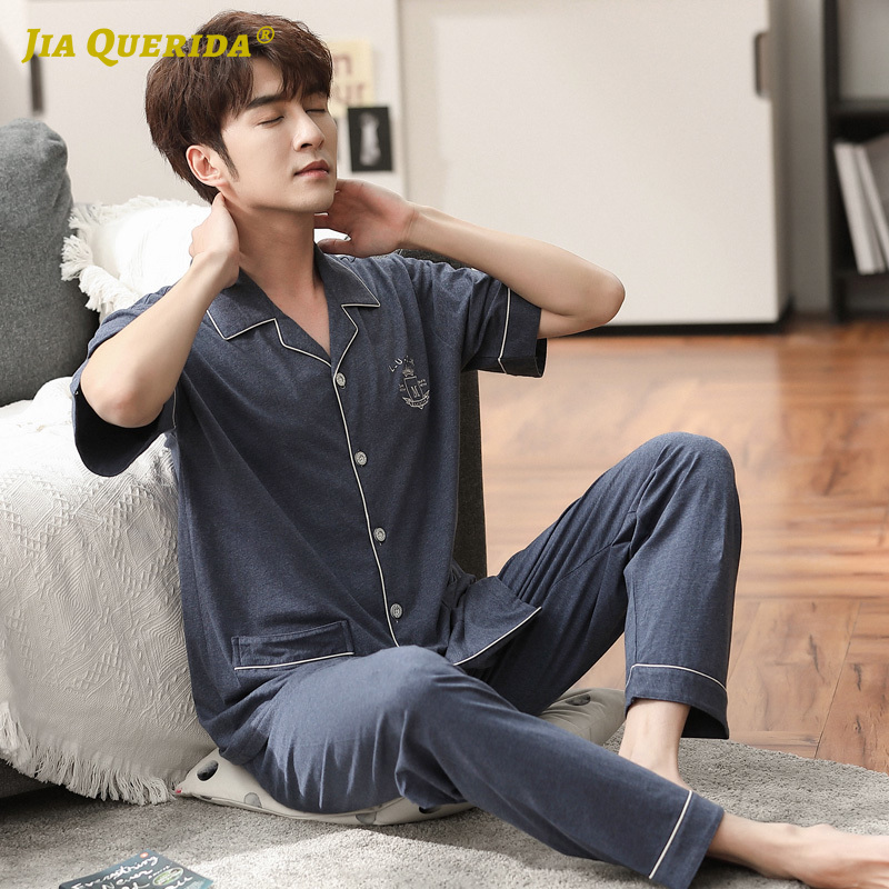 New Short Sleeve Long Pants Turn Down Collar Homesuit Homeclothes Sleepwear Casual Style Man Clothes 100% Cotton Pajamas Set
