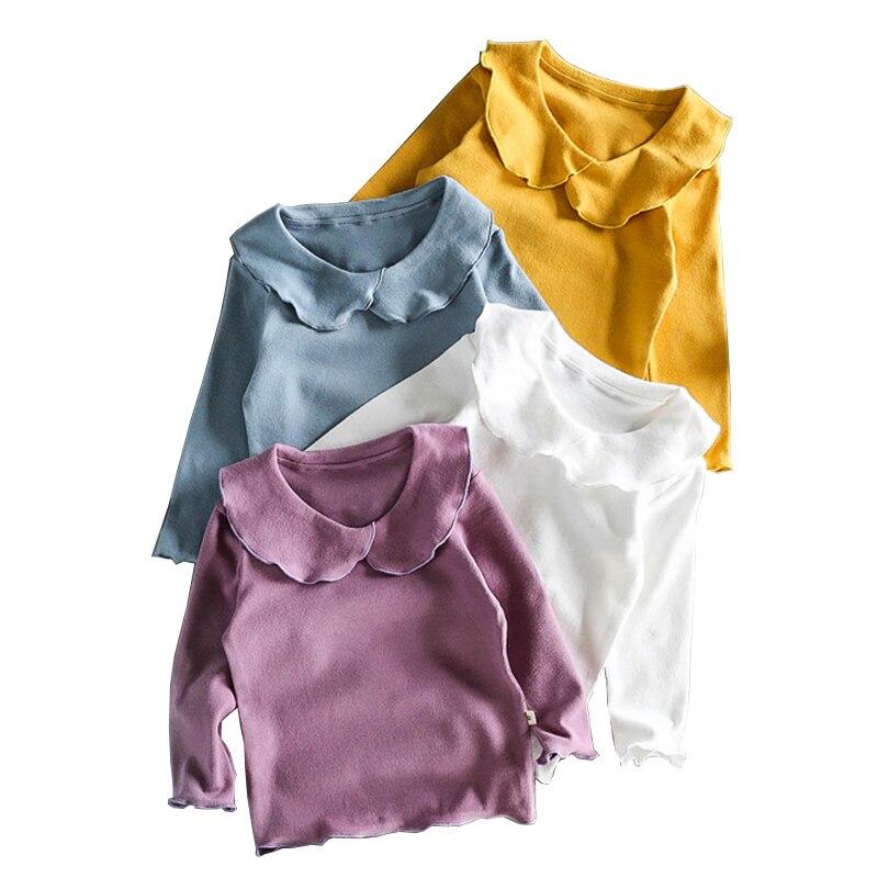 Tops T-Shirt Long-Sleeve Autumn Baby-Girl Cotton Cute Peter Solid LZ158 Pan-Collar