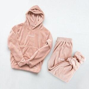 2020 New Women Cute Pajamas Sets Velvet 2 Pieces Sleepwear Suit Hoodies Sweatshirt Sweatpants Solid Nightwear Homewear Suit