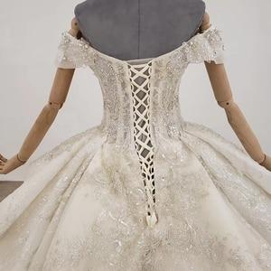 Image 5 - HTL1249 2020 sparkly งานแต่งงานชุดปิดไหล่แขนสั้นประดับด้วยลูกปัด applique โบว์ Petite งานแต่งงานชุด платье на выпускной