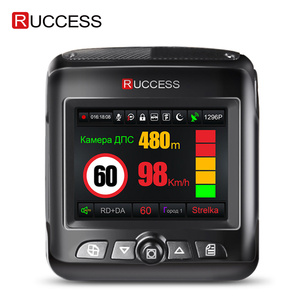 Image 1 - Ruccess araba dvrı Radar dedektörü GPS 3 in 1 Full HD 1296P 1080P Video kaydedici kamera çift lens Dash kamera Speedcam rus