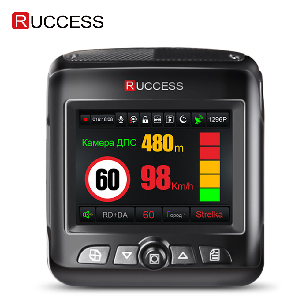 Ruccess <font><b>Car</b></font> <font><b>DVR</b></font> <font><b>Radar</b></font> <font><b>Detector</b></font> <font><b>GPS</b></font> <font><b>3</b></font> <font><b>in</b></font> <font><b>1</b></font> Full HD 1296P 1080P Video Recorder Camera Dual Lens Dash Cam Speedcam Russian image