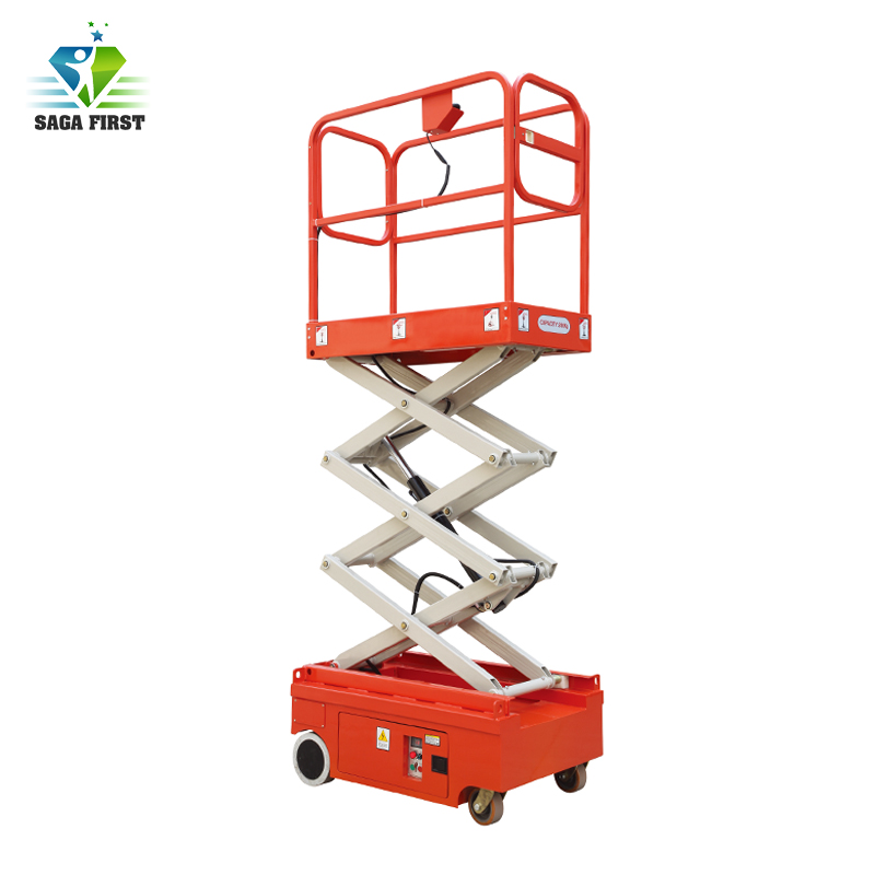 Qingdao Sinofirst Self Propelled Mini Compact Scissor Lift For Supermarket Warehouse Use