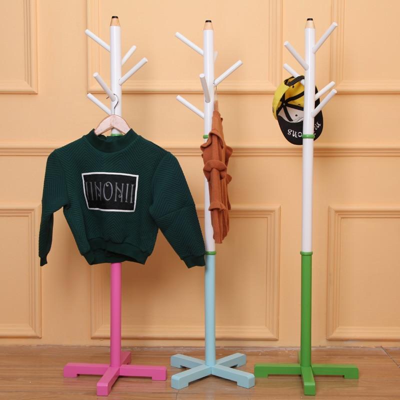 5 Hooks Wooden Children Clothes Rack Assembly 133cm Standing Hanger For Coats/Hats/Bags Pencil Shape Boys/Girls Clothing Shelf