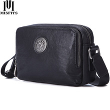 MISFITS genuine leather shoulder bag men fashion messenger bags cell phone small crossbody card holder high quality flap
