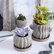 Cactus Shape Flower Pot Concrete Molds For Succulent Plants Round Plaster Silicone Molds Cement Clay Crafts Mould