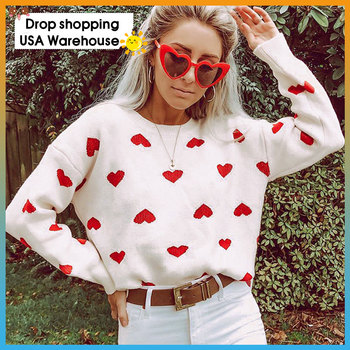 Fashion Autumn Pullover round Neck Loose Women's Sweater Heart-Shaped Pattern Knitting Sweater Female Casual O-Neck  Sweater khaki splited design round neck irregular sweater