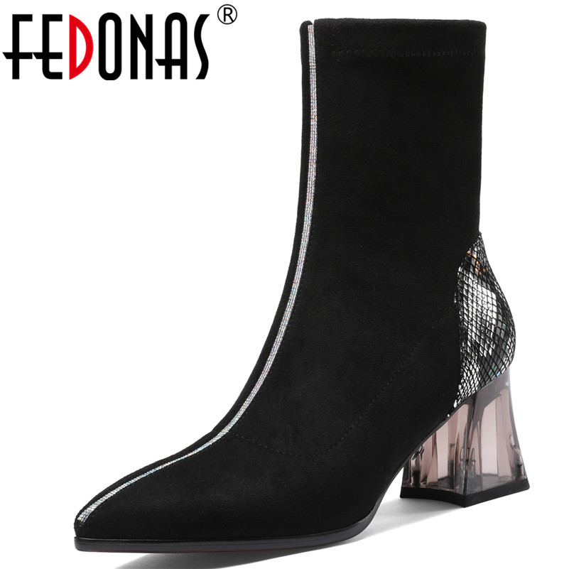FEDONAS Winter Patchwork Animal Prints Genuine Leather Flock Women Ankle Boots Dancing Shoes Woman Warm Short Chelsea Boots