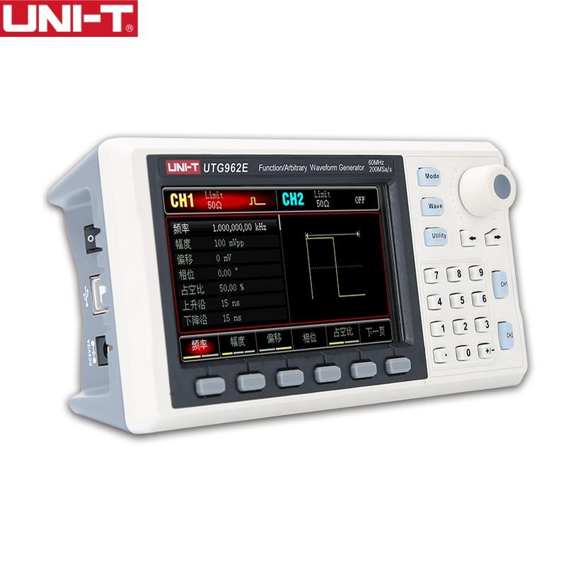 UNI-T Регулируемый цифровой двухканальный 200 мс/с генератор сигналов 14 бит Высокоточный Измеритель 30 МГц/60 МГц UTG932E UTG962E