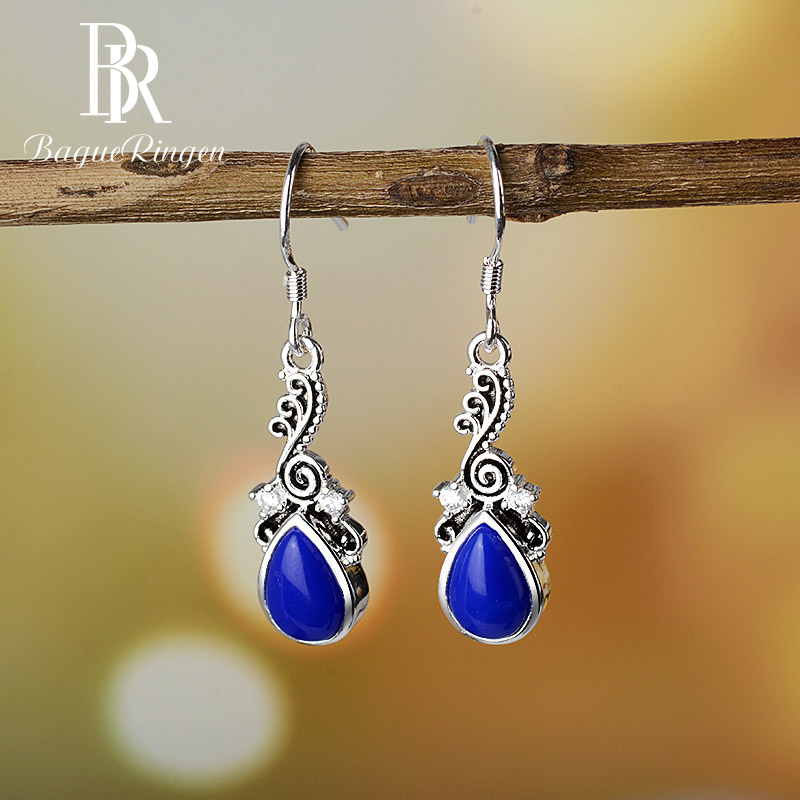 Bague Ringen Classic 925 Sterling Silver Water Drop Charoite  Earring For Female Wedding Party Anniversarie Fine Jewelry Gift