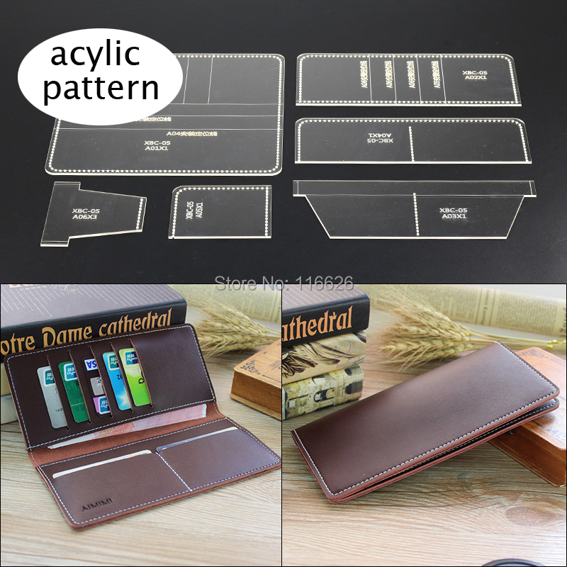 DIY Leather Craft Long Folded Card Holder Wallet Acylic Pattern Stencil Transparent Template Set