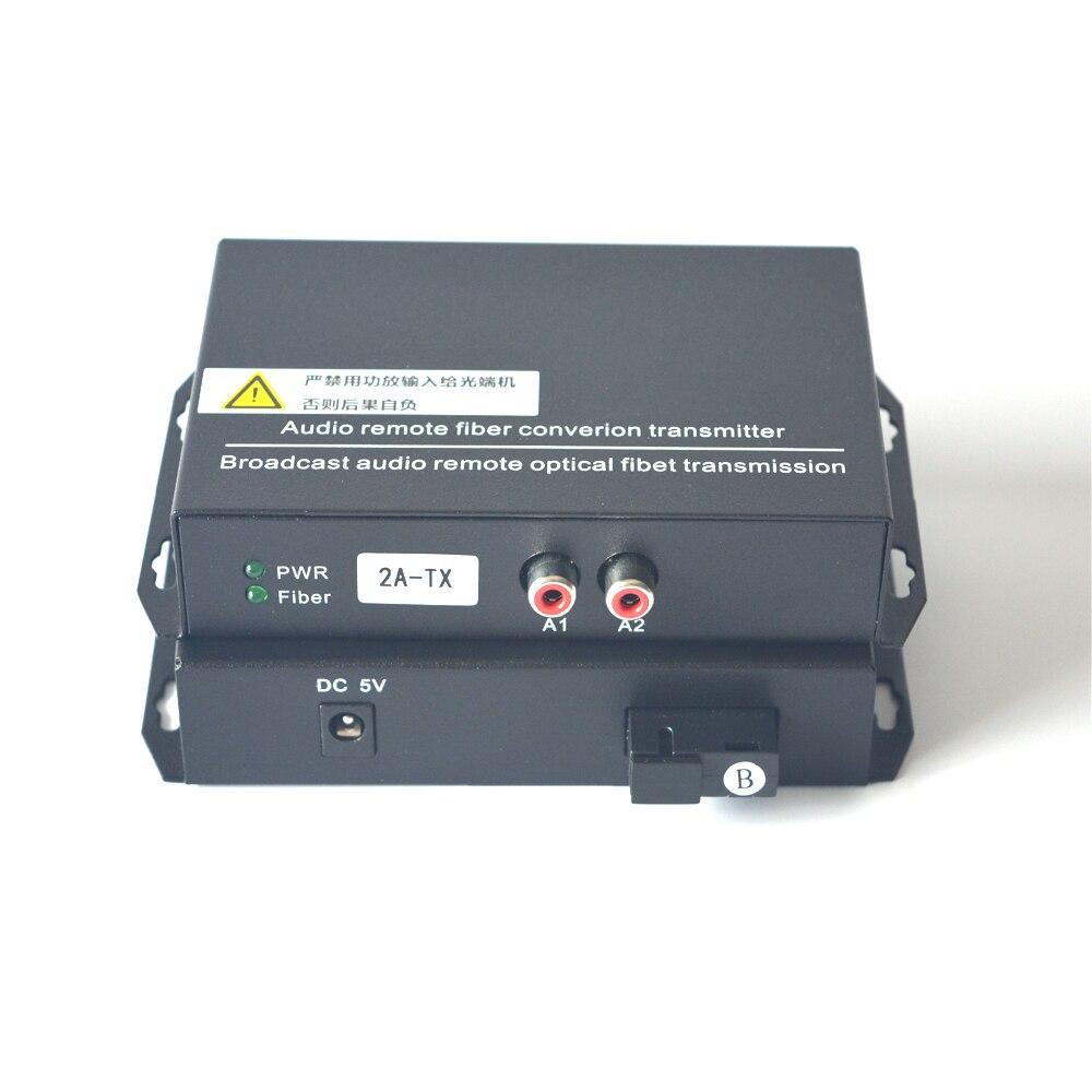2 channel Audio Fiber Optic Media Converter Extender - Singlmode Fiber up 20Km & Multimode 500m for Broadcasting Intercom System