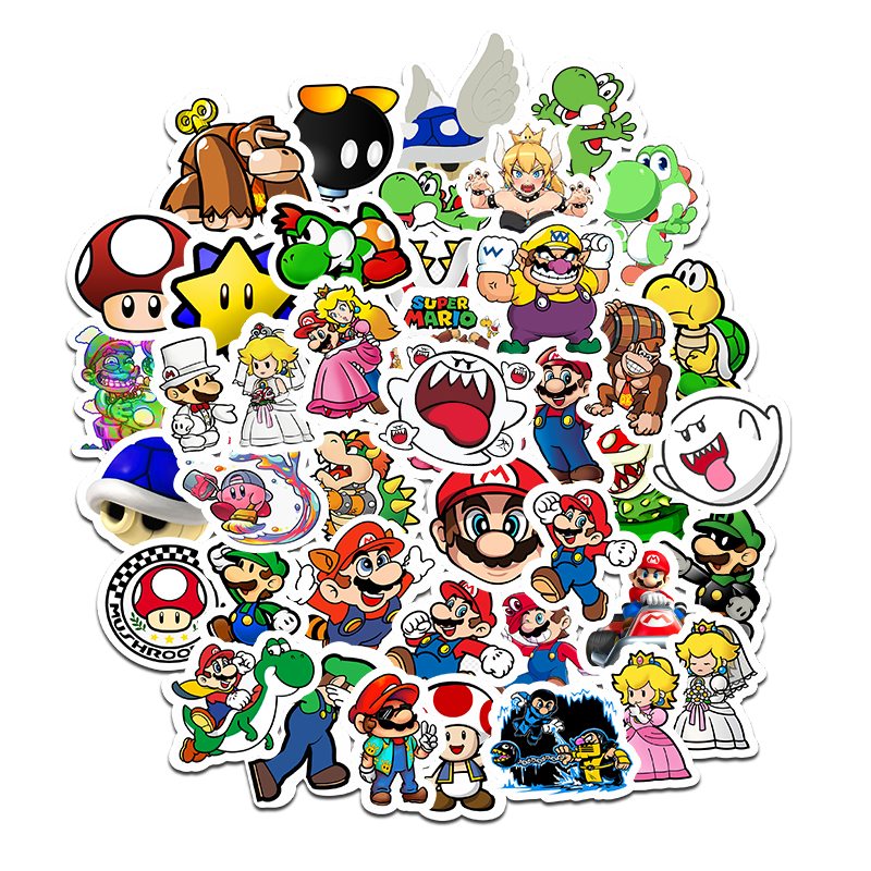 50pcs Super Mario Cartoon Anime Sticker DIY Waterproof Sticker Luggage Mobile Computer Skateboard Guitar Refrigerator F5