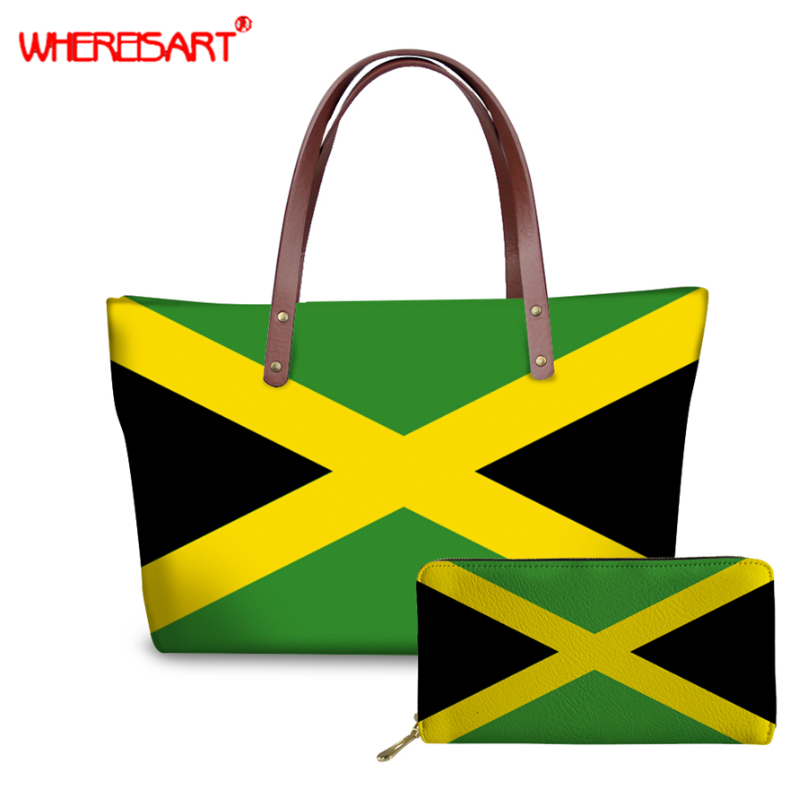 WHEREISART Women Handbag With Purse National Jamaica Flag Pattern Casual Shoulder Bag Totes Bags Wallets Ladies Bolsa Feminina