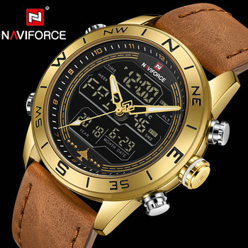 NAVIFORCE Luxury Watch Men Dual Time Quartz Waterproof Sports Watches Brown Leather Strap Wristwatch LED Digital Analog Clock
