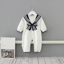 Baby Clothes 2020 New England Style Sailor Collar Baby Boys Clothes Infant Girls Rompers Jumpsuit Outfits 0-2Y