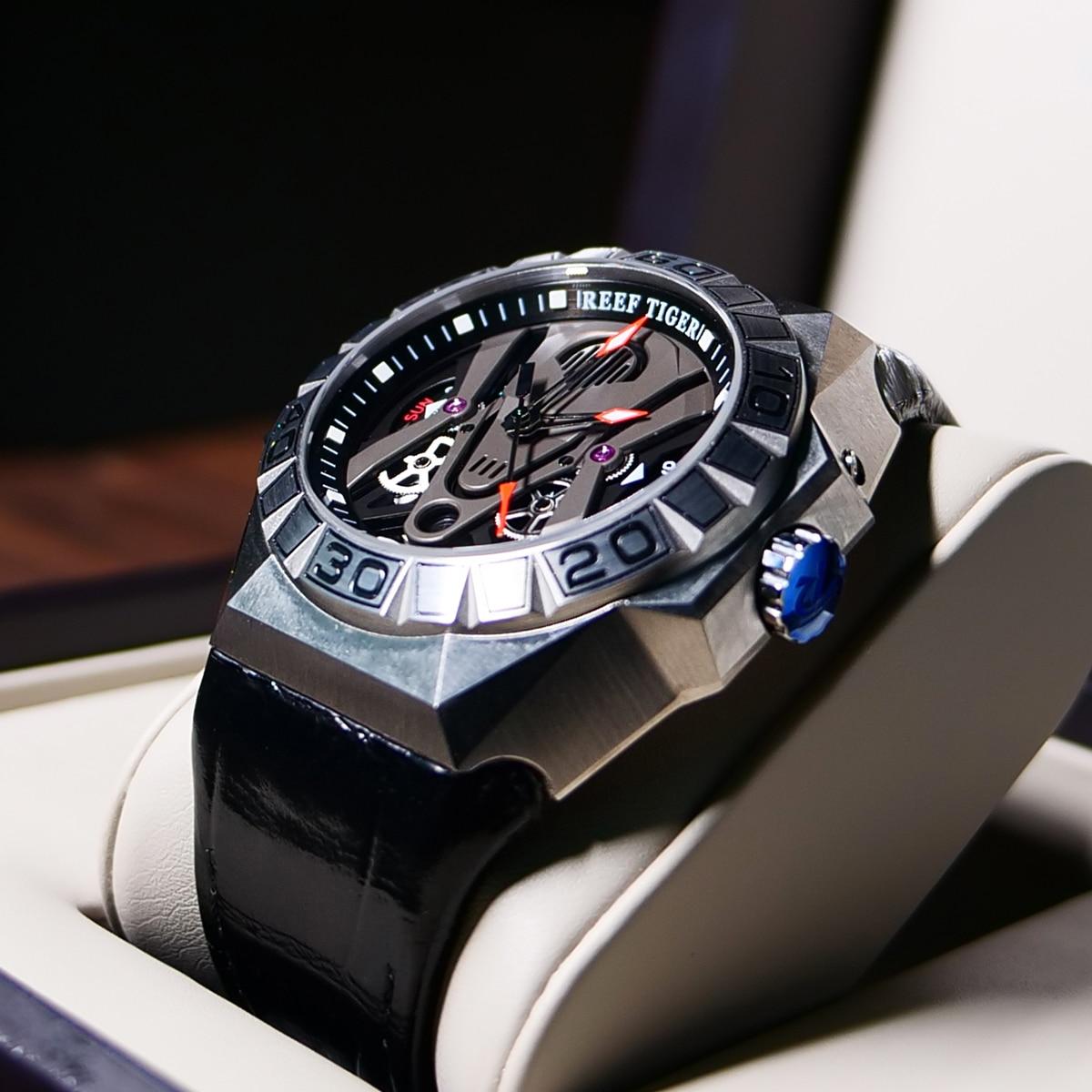 Reef Tiger/RT Top Brand Men Sport Watches Automatic Skeleton Watch Steel Waterproof Leather Strap Relogio Masculino RGA6912 6
