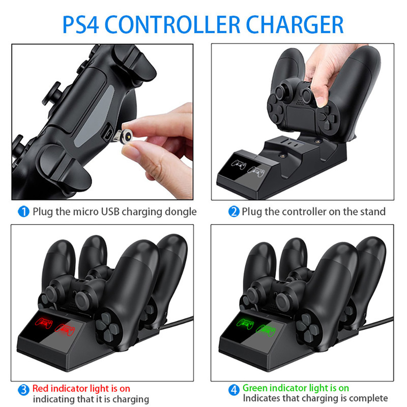 PS4 Controller Charger Ps4 Controller Charging Docking Station LED Light Indicators Bottom Light PS4 PS4 Slim PS4 Pro Controll in Replacement Parts Accessories from Consumer Electronics