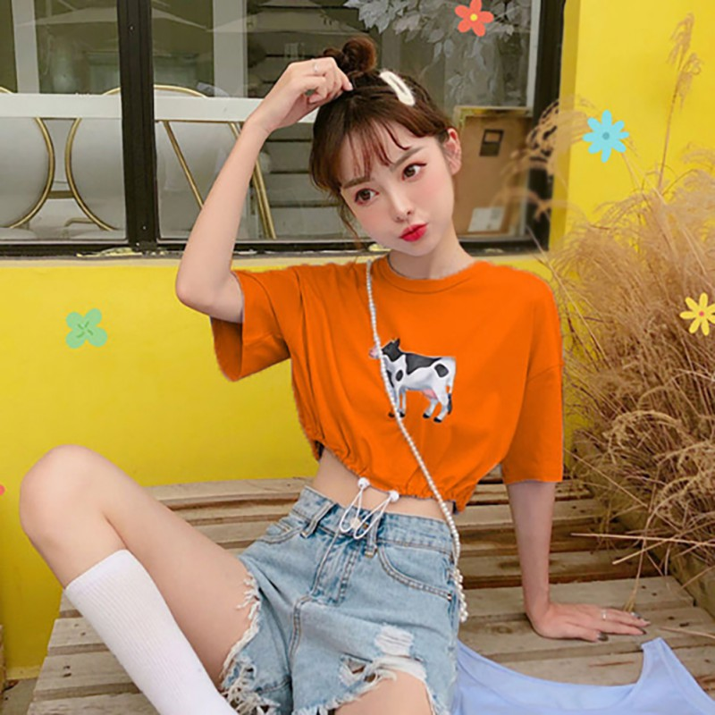 Cartoon Cow Print Women 39 s T Shirt 2019 Summer Casual Fashion Round Neck T Shirt Short Sleeve Drawstring Ladies Tee Tops in T Shirts from Women 39 s Clothing