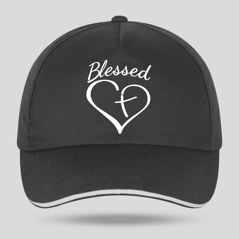 New Men Women Fashion Blessed Heart And Cross Print Baseball Caps For Hip Hop Cotton Velcro Trucker Cap Bone Dad Hats